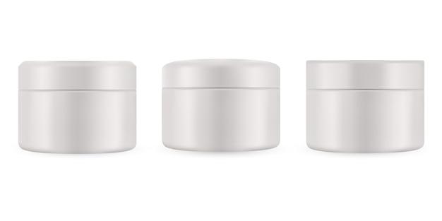 Conjunto de paquete vacío realista para producto cosmético de lujo. colección de plantilla en blanco de envases de plástico. botella para líquido, crema para el cuidado de la piel. maqueta aislado sobre fondo blanco.