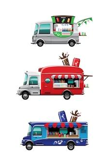 Conjunto de paquete de la vista lateral del camión de comida con mostrador de bebidas frías y modelo en la parte superior del automóvil, sobre fondo blanco, ilustración