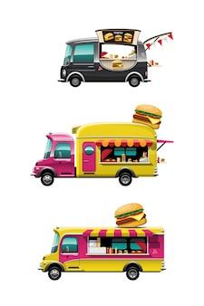 Conjunto de paquete de la vista lateral del camión de comida con mostrador de hamburguesas, hamburguesa y modelo en la parte superior del coche, sobre fondo blanco, ilustración