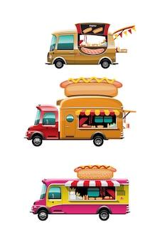 Conjunto de paquete de la vista lateral del camión de comida con mostrador de perritos calientes, perritos calientes y pan y modelo en la parte superior del automóvil, sobre fondo blanco, ilustración
