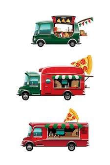 Conjunto de paquete de la vista lateral del camión de comida con mostrador de pizza, pizza y modelo en la parte superior del coche, sobre fondo blanco, ilustración