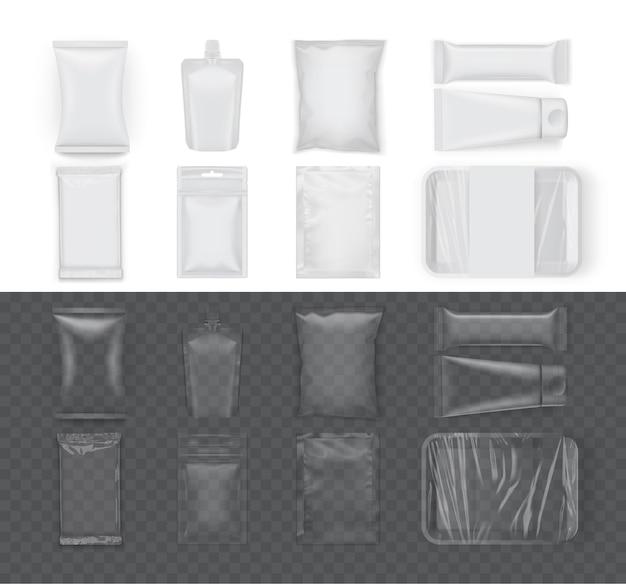 Conjunto de paquetes de alimentos blancos aislados