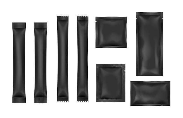 Conjunto de paquetes de bolsita negra en blanco