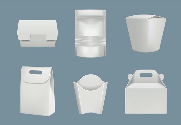 Conjunto de paquetes de cartón y plástico en blanco