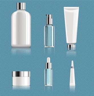 Conjunto de paquetes cosméticos en blanco realista