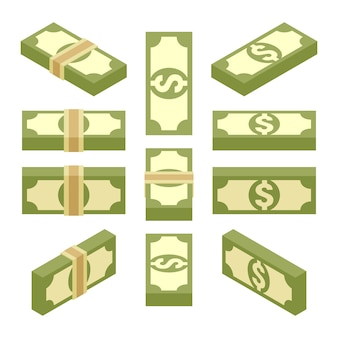 Conjunto de los paquetes isométricos de papel moneda.