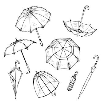 Conjunto de paraguas dibujados a mano