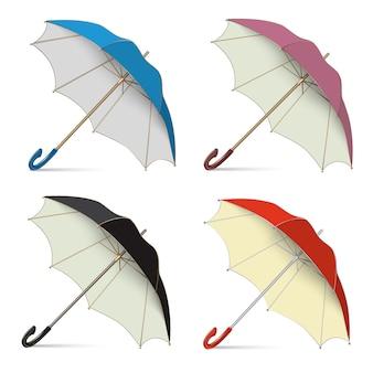 Conjunto de paraguas de la lluvia, soporte abierto en el suelo.