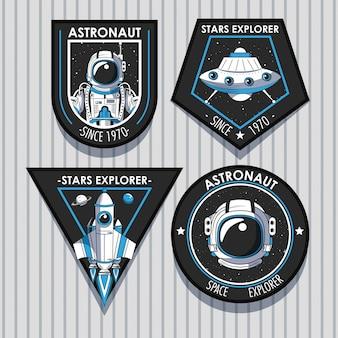Conjunto de parches del explorador espacial de diseño de emblemas.