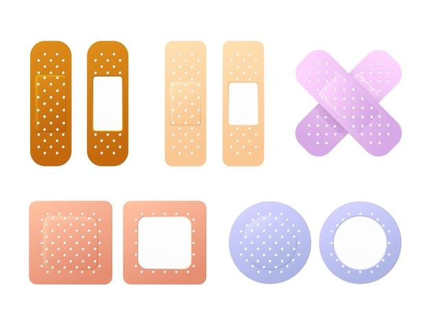 Conjunto de parches médicos de yeso con banda de ayuda de color detallada realista. parche médico de tira de yeso de banda de primeros auxilios