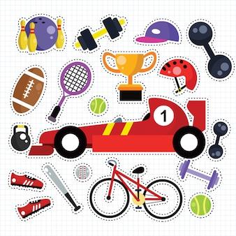 Conjunto de parches de pegatinas de deporte doodle