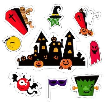 Conjunto de parches de pegatinas de halloween