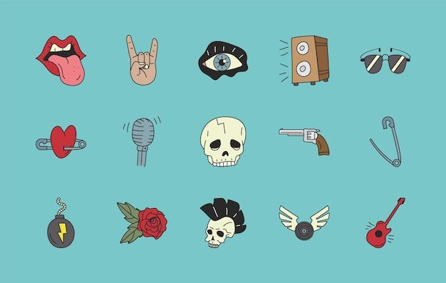 Conjunto de parches de rock and roll