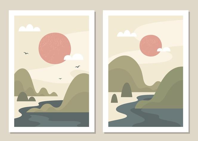 Conjunto de pared de paisaje de arte. paisaje abstracto