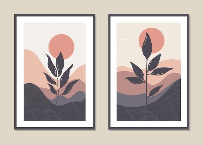 Conjunto de pared de paisaje de arte.