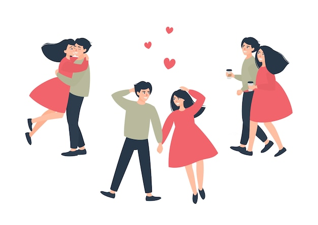 Conjunto de pareja amorosa en un paseo en un día fresco
