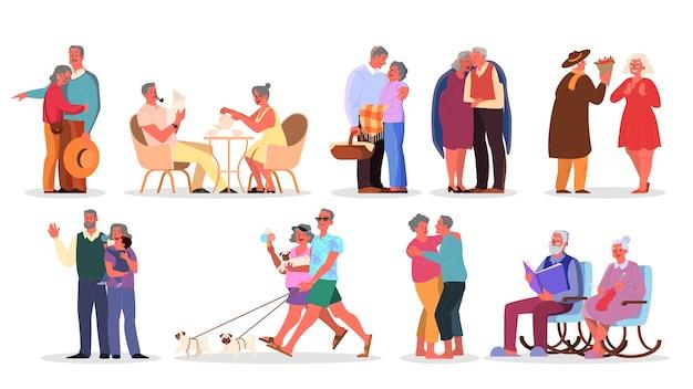 Conjunto de pareja de ancianos. las personas mayores pasan tiempo juntas y con la familia. mujer y hombre jubilado. feliz abuelo y abuela en casa y fuera.