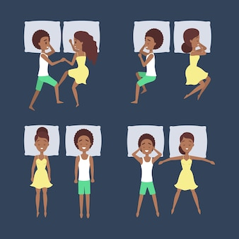 Conjunto de pareja duerme en diferentes posiciones. personaje femenino en la cama sobre la almohada. descansando en el dormitorio. ilustración