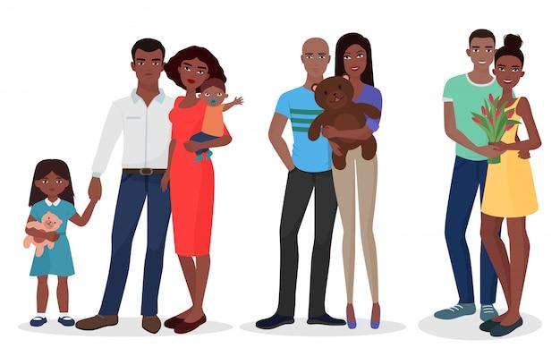 Conjunto de pareja de familias negras