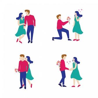 Conjunto de pareja de ilustración vectorial