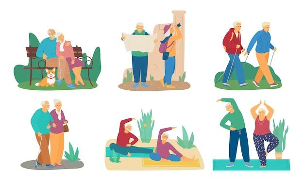 Conjunto de parejas de ancianos haciendo diferentes actividades. sentado en el banco del parque con perro, viajar, marcha nórdica, hacer ejercicio. aislado en blanco.