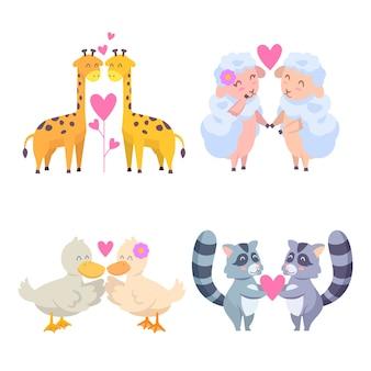 Conjunto de parejas de animales de amor para el día de san valentín