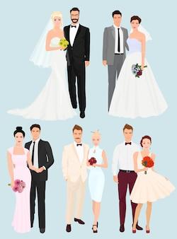 Conjunto de parejas de boda