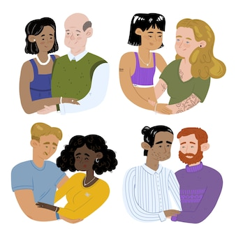 Conjunto de parejas dibujadas a mano abrazándose