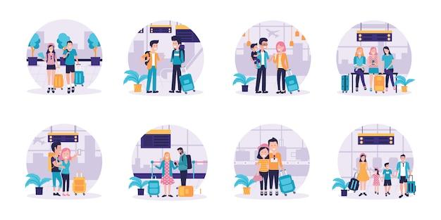 Conjunto de parejas y familias que viajan con sus hijos cargando equipaje