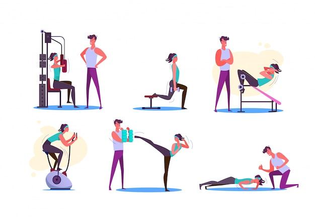 Conjunto de parejas haciendo ejercicio