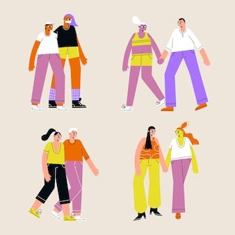 Conjunto de parejas jóvenes caminando juntos