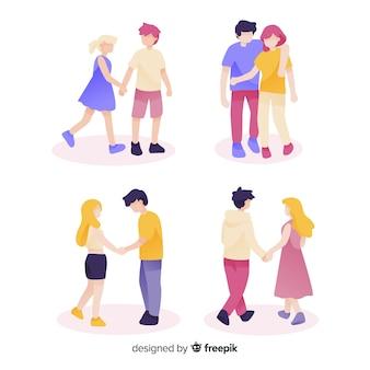 Conjunto de parejas jóvenes caminando