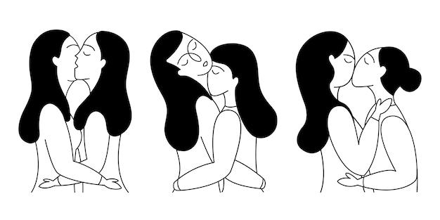 Conjunto de parejas de lesbianas.