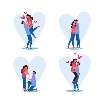 Conjunto de parejas de san valentín dibujadas.