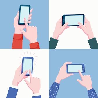 Conjunto de pares de manos humanas sosteniendo la ilustración del teléfono móvil