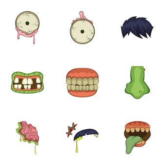 Conjunto de parte del cuerpo muerto, estilo de dibujos animados
