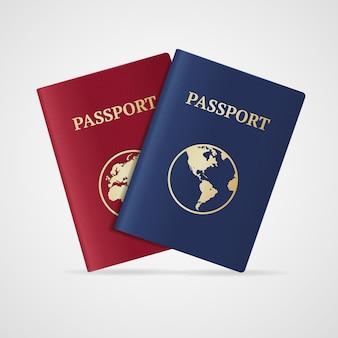 Conjunto de pasaporte internacional aislado sobre fondo blanco.
