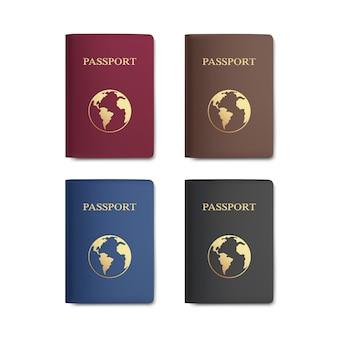 Conjunto de pasaportes con mapa aislado sobre fondo blanco.
