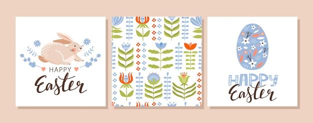 Conjunto de pascua de la tarjeta de felicitación.