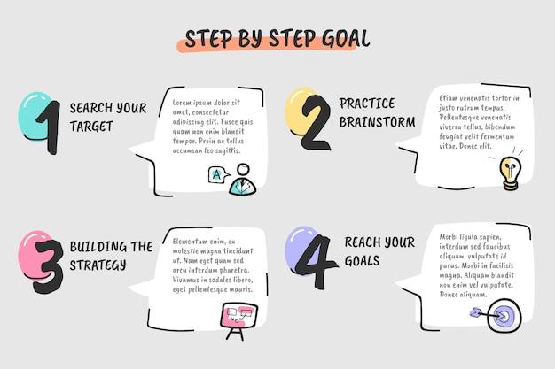 Conjunto de pasos creativos de infografía