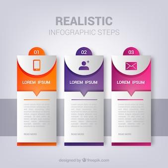 Conjunto de pasos de infografía en estilo realista