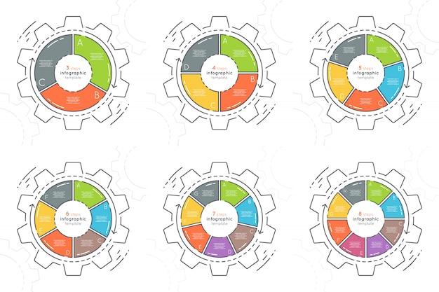 Conjunto de pasos de plantillas de infografía estilo plano en forma de engranaje.