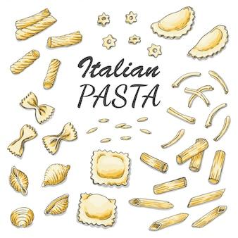 Conjunto de pasta italiana de colores