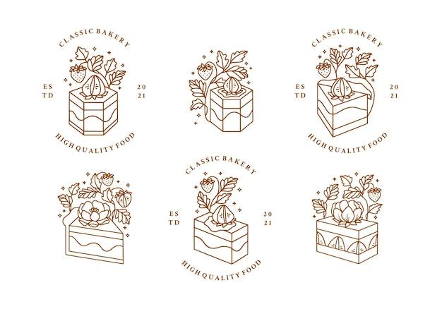 Conjunto de pastel dibujado a mano