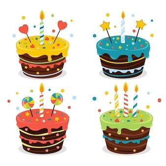 Conjunto de pasteles con colores, velas y decoraciones coloridas.