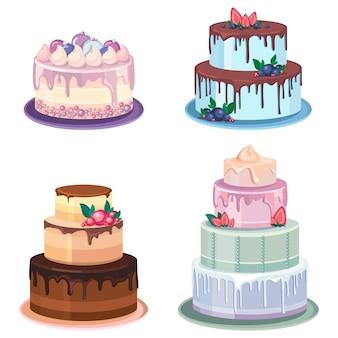 Conjunto de pasteles diferentes