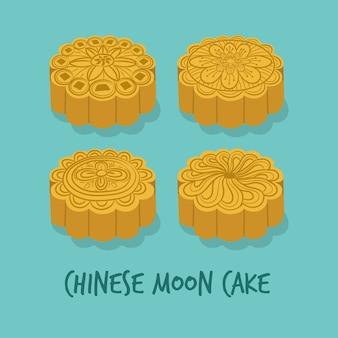 Conjunto de pasteles de luna chinos para el festival del medio otoño