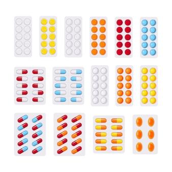 Conjunto de pastillas en ampollas