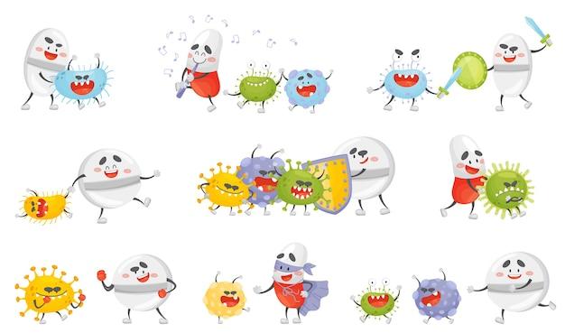 Conjunto de pastillas de dibujos animados luchando con gérmenes