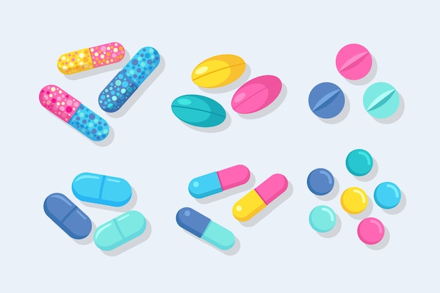 Conjunto de pastillas, medicamentos, drogas. pastilla analgésica, vitamina, antibióticos farmacéuticos. cuidado de la salud .